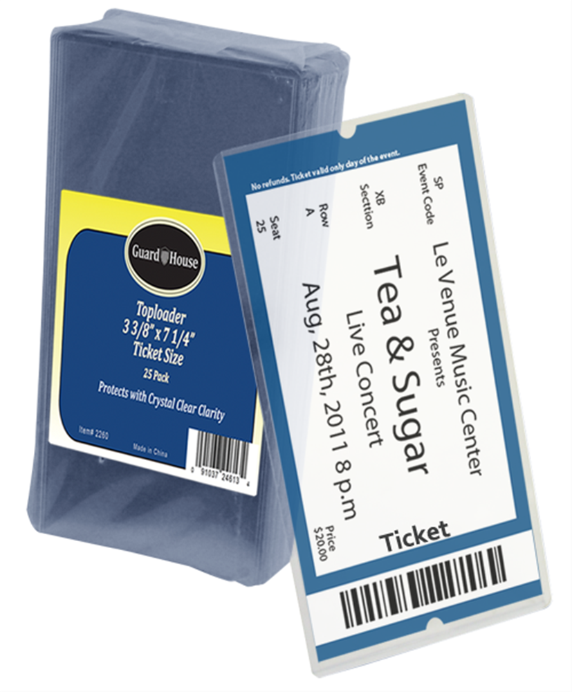 Guardhouse Ticket Size Toploader - 3 3/8 x 7 1/4 3 3/8 x 7 1/4, ticket toploader, toploader for tickets, ticket sleeve, ticket sleeve storage, sports ticket holder