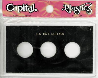 Half Dollars 3 Coin Capital Plastics Coin Holder Black Meteor Half Dollars 3 Coin Capital Plastics Coin Holder Black, Capital, MA31C