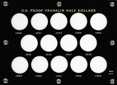 Franklin Half Dollars 1950 Capital Plastics Coin Holder Black 6x8 Franklin Half Dollars 1950 Capital Plastics Coin Holder Black, Capital, 457