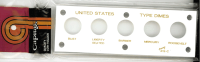 US Type Dimes Capital Plastics Coin Holder White 2x6 US Type Dimes Capital Plastics Coin Holder White, Capital, 412C White