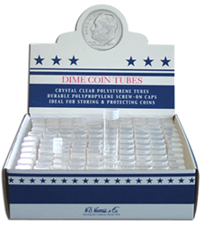 Dime Round Coin Tube HE Harris 100 Pack Dime Dime Round Coin Tube HE Harris 100 Pack, HE Harris & Co, 1280