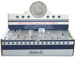 Half Dollar Round Coin Tubes HE Harris 100 Pack - 5792