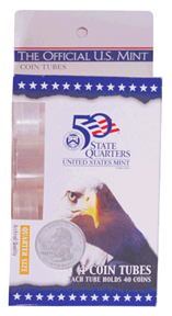 Quarter Round Plastic Coin Tube US Mint 5 Pack Quarter Quarter Round Plastic Coin Tube US Mint 4 Pack, HE Harris & Co, 1690