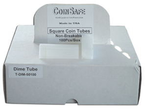 Dime Square Coin Tube CoinSafe 100 Pack Dime Dime Square Coin Tube CoinSafe 100 Pack, CoinSafe, T-DIM-50-100 pac