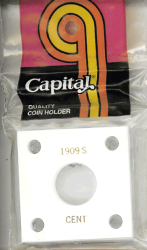 1909S Cent Capital Plastics Coin Holder 144 Type White 2x2 1909S Cent Capital Plastics Coin Holder 144 Type White, Capital, 144