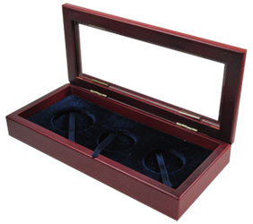 Guardhouse Glass Top Wood Display Box for 3 Coin Capsules (2L,XL) Glass-top, Wood Display Box, -GH-W1800: (XL,2L), GH-W1800: (XL,2L)
