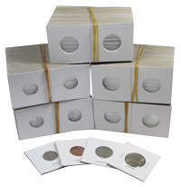 Guardhouse Staple Type 2x2 Coin Flips (100 per pack) 2x2 coin flips, staple type, 2x2 coin holder, 2x2 cardboard flips, 2x2 mylar, 2X2FLIPS