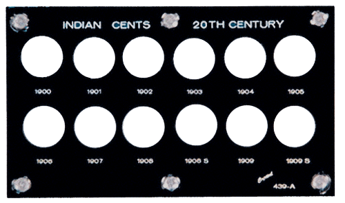 Indian Head Cents 1900 Capital Plastics Coin Holder Black 3.5x6 Indian Head Cents 1900 Capital Plastics Coin Holder Black, Capital, 439A