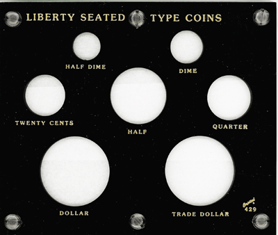 Liberty Seated Type Capital Plastics Coin Holder Black 5x6 Liberty Seated Type Capital Plastics Coin Holder Black, Capital, 429