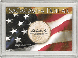 American Flag Sacagawea P&D HE Harris Frosty Case 2x3 American Flag Sacagawea P&D HE Harris Frosty Case, HE Harris & Co, 1654