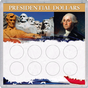 Presidential Dollar Eight Coin HE Harris Frosty Case 6.5x6.5 Presidential Dollar Eight Coin HE Harris Frosty Case, HE Harris & Co, 0794821863
