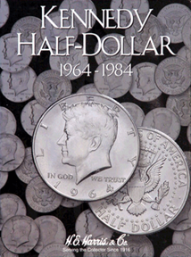 Kennedy Half Dollar 1964-1984 HE Harris Coin Folder 6x7.75 Kennedy Half Dollar 1964-1984 HE Harris Coin Folder, HE Harris & Co, 2696