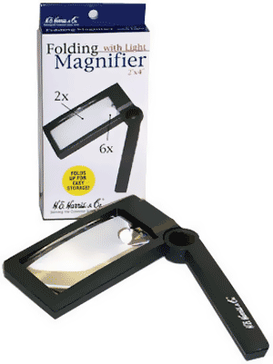 2X 6X Illuminated Folding Magnifier 2X 6X Illuminated Folding Magnifier HE Harris, HE Harris & Co, 90922131