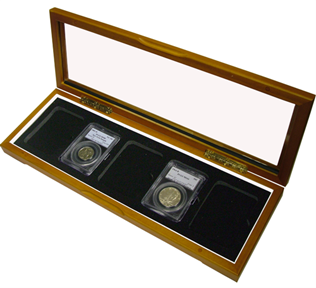 Guardhouse Five Slab Glass Top Wood Coin Display Box