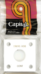 1909S VDB Cent Capital Plastics Coin Holder 144 Type White 2x2 1909S VDB Cent Capital Plastics Coin Holder 144 Type White, Capital, 144