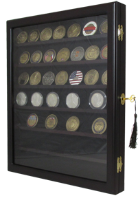 Wall Mounted Coin Display with 7 Shelves and Lock