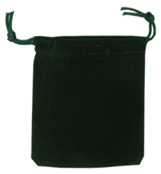 Velour Drawstring Pouch - 2.75x3.25 Green